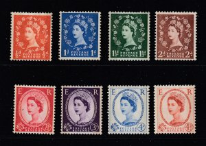 Great Britain x 8 QE2 MH deffs with Graphite lines