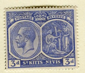 ST. KITTS; 1921-29 early GV portrait issue Mint hinged 3d. value