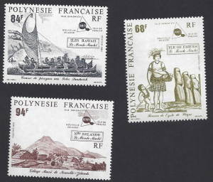 French Polynesia #560-2 MNH, set, 18th century scenes of Maohi islands