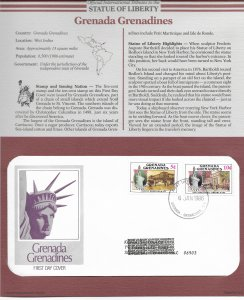 Statue of Liberty Grenada Grenadines #727-728. 1986  FDC with write up.