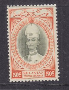 KELANTAN, 1937 Sultan Ismail, 50c. Grey Olive & Orange,  heavy hinged.