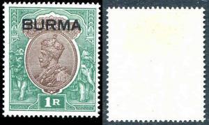 BURMA ON INDIA KGV 1 R SG 13 SC13    Mint Light Hinge 1937