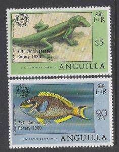 Anguilla, Scott #389-390; Rotary Intl Anniversary, MNH