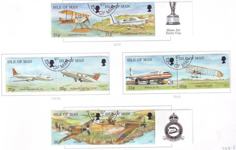Isle of Man Sc 744-51 1997 Manx Airplanes stamp set used