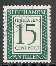 Netherlands Antilles  1952 postge due  cancelled  15 ct      #