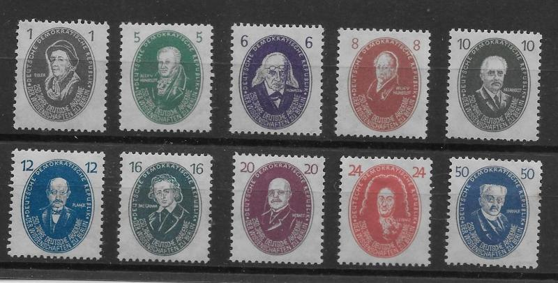 Germany DDR  58-67 250th Academy of Science set MNH