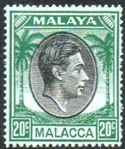 Malacca 1949 20c black and green MH