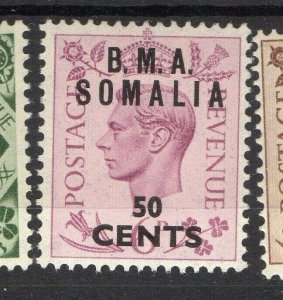 BMA Somalia 1950s Early Issue Fine Mint Hinged 50c. Surcharged Optd NW-14624