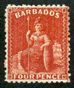BARBADOS SG68x1875-80 4d deep red wmk CC (reversed) perf 12.5 SUPERB MINT