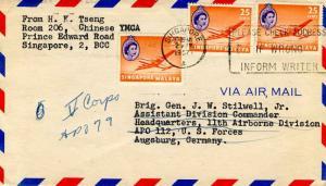Singapore 25c QEII Argonaut Plane (3) 1957 Singapore, A Please Check Address ...