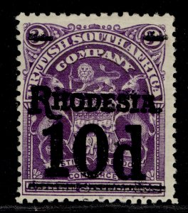 RHODESIA EDVII SG117, 10d on 3s deep violet, M MINT. Cat £20.
