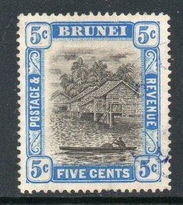 Brunei 1907 EDVII 5c grey-black & blue SG 27 used