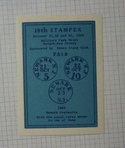 1949 Stampex Newark NJ Philatelic Event Label Souvenir Ad