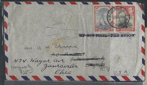 BERMUDA COVER (P0210B)   1946  KGVI 1D + 2 D BOATS A/M COVER TO USA MANGROVE BAY