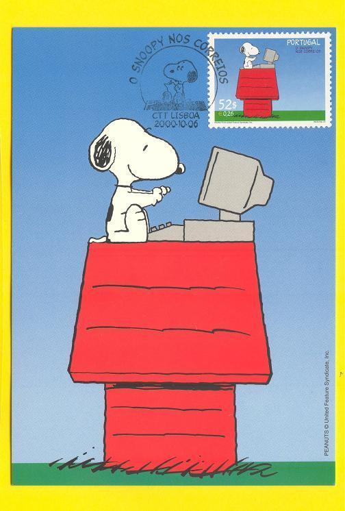 MAXIMUM CARD PEANUTS PORTUGAL  SNOOPY computer & dog dogs  2000year