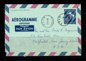 Norway 1966 aerogramme to USA - Lot 090417