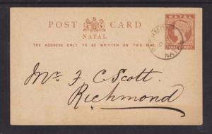Natal H&G 1a used 1890 ½p QV Postal Card, local use VF