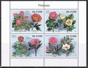 Sao Tome and Principe, Flowers, Peonies MNH / 2011