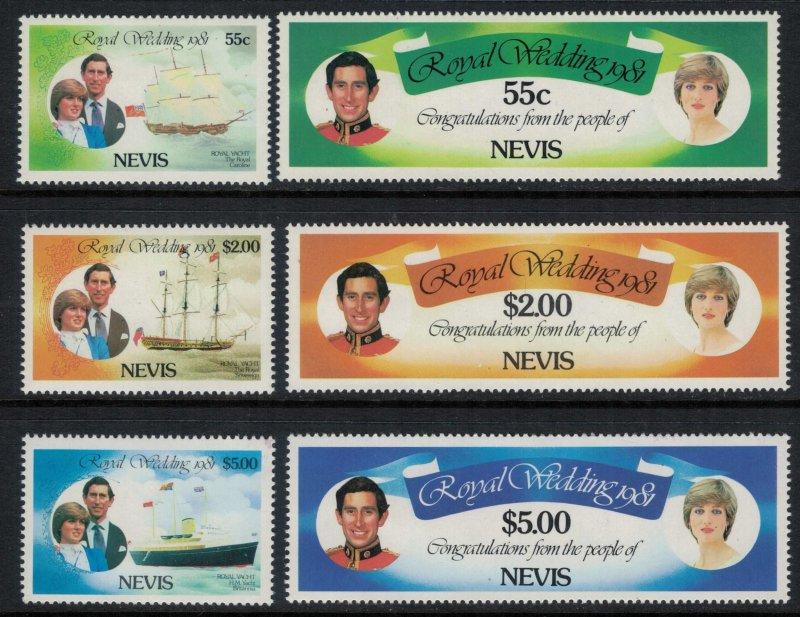 Nevis #135-40* NH  CV $4.30 Prince Charles & Lady Di wedding