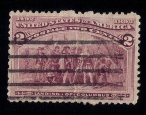 US Scott #231 USED VAR, Broken Hat Error Creased Center Very Fine