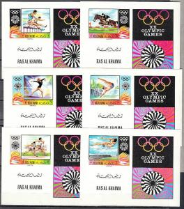 Ras Al Khaima, Mi cat. 384-389 C. Munich Olympics issue as Deluxe s/sheets.