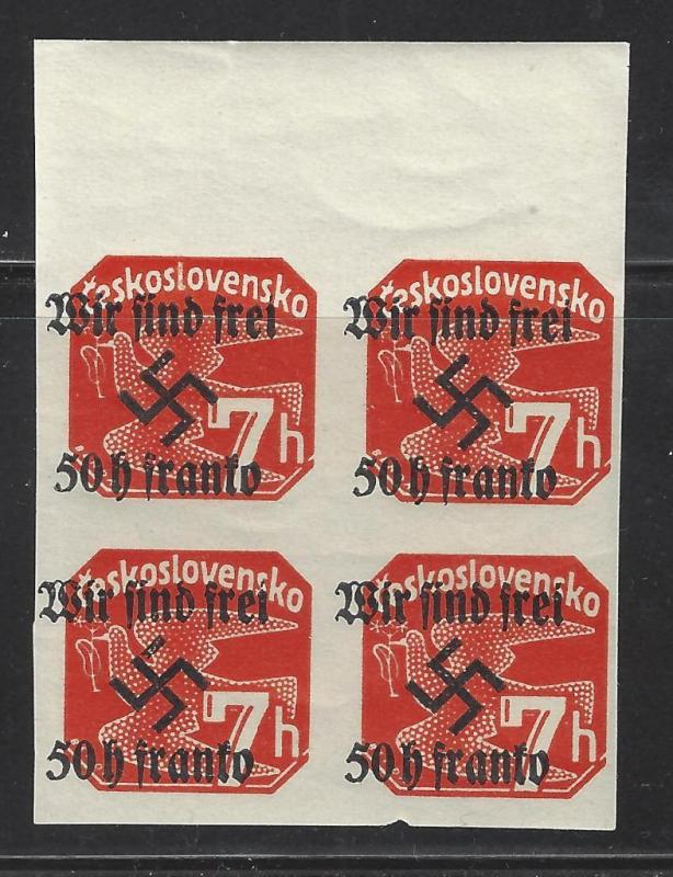 Wir Find Frei- Germany Occupation Of Czech Overprint Newspaper Block - (BN57)