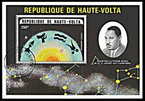 Upper Volta C178, CTO, Martin Luther King and Zodiac Symbols souvenir sheet