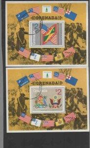 GRENADA #634-635  1975 AMERICAN REVOLUTION MINT  VF NH  O.G S/S CTO  a