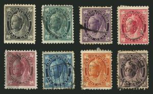 Canada #66-#73 1897-98 Queen Victoria Maple Leafs Nice Used Set 8 items