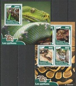 CA053 2016 Central Africa Fauna Reptilien Schlangen Les Pythons KB + Bl MNH