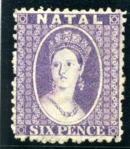 Natal 1864 QV 6d violet (wmk reversed) MLH. SG 24x.