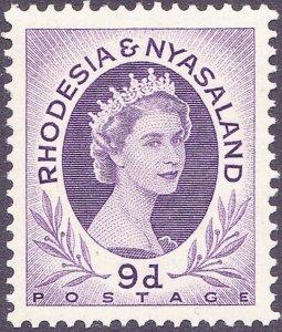 RHODESIA & NYASALAND 1954 EQII 9d Violet SG8 MH