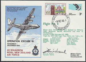 NEW ZEALAND ROSS DEPENDENCY 1980 signed flight cover ex Scott Base..........H730