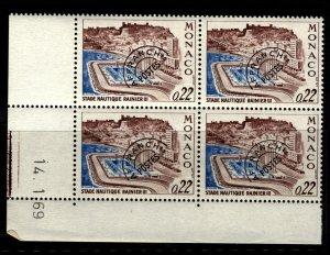 Monaco 1969 Rainer III Aquatic Stadium Stamp PB 4 Stamps Scott 732 MNH with Date
