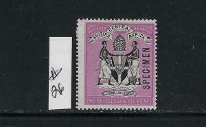 BRITISH CENTRAL AFRICA SCOTT #26 1895 2/6 SHILLING SPECIMEN -MINT HINGED