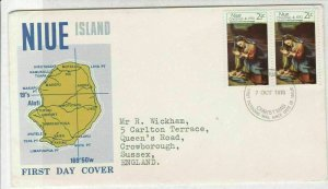 NIUE Island 1970 Picture of island Christmas Mary+Baby Stamps FDC Cover Rf 28568