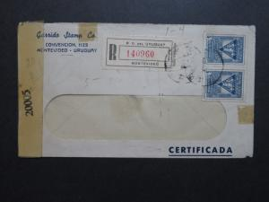Uruguay 1944 Registered Censor Cover to USA - Z8724