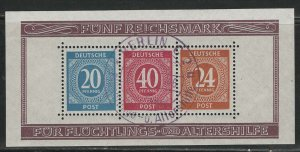 Germany AM Post Scott # B294, used, s/s, fd cancellation