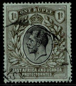 EAST AFRICA and UGANDA GV SG53b, 1r black/green (emerald back), FU. Cat £50.