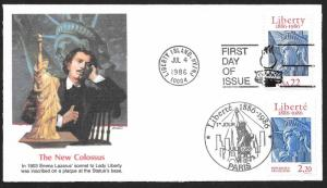 UNITED STATES FDC 22¢ Statue of Liberty DUAL Joint Issue 1986 Fleetwood
