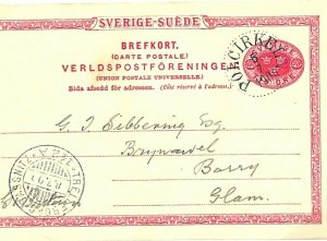 Sweden Postal Stationery Card 10 Ore *Polcirkeln* Trelleborg 1900 {samwells}L100