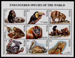 Nevis 1073 MNH Endangered Species, Birds, Animals, Reptiles, Monkey