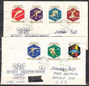 Hungary, Scott cat. 1301-1302, B217.  Squaw Valley Olympics. First day cover.