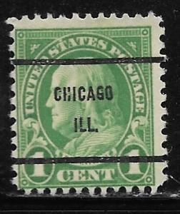 USA 632: 1c Franklin, Chicago, Ill. Precancel, used, AVG