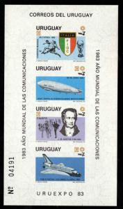 Uruguay Scott 1147a URUEXPO 83 Souvenir sheet MNH** Zeppelin, Shuttle