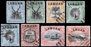 Labuan Scott 73c, 74, 75b, 76-78, 79b,80 (1897-1900) U/M H F-VF, CV $32.50 B