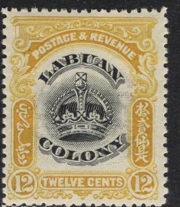 LABUAN SG123 1902 12c BLACK & YELLOW MTD MINT