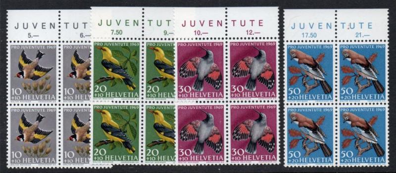 Switzerland Sc B386-9 1969 Birds Pro Juventute stamp set mint NH Blocks of 4