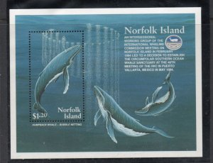 Norfolk Island Sc 576 1995 Whales stamp sheet mint NH