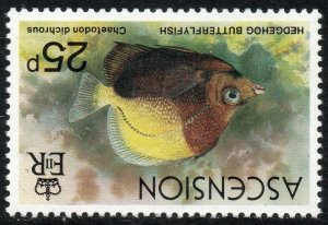 1980 Ascention Sg 272w 25p Bicoloured Butterflyfish Crown to Right of CA UMM